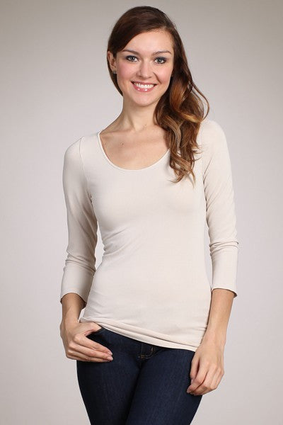 Scoop Neck 3/4 Sleeve Top - Premium M. Rena