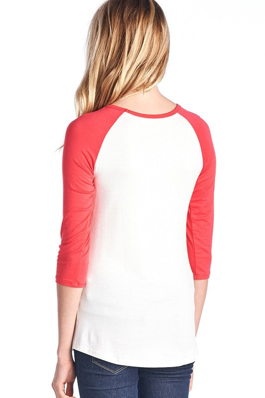 You're Killin' Me Smalls Raglan Top (med coral left)