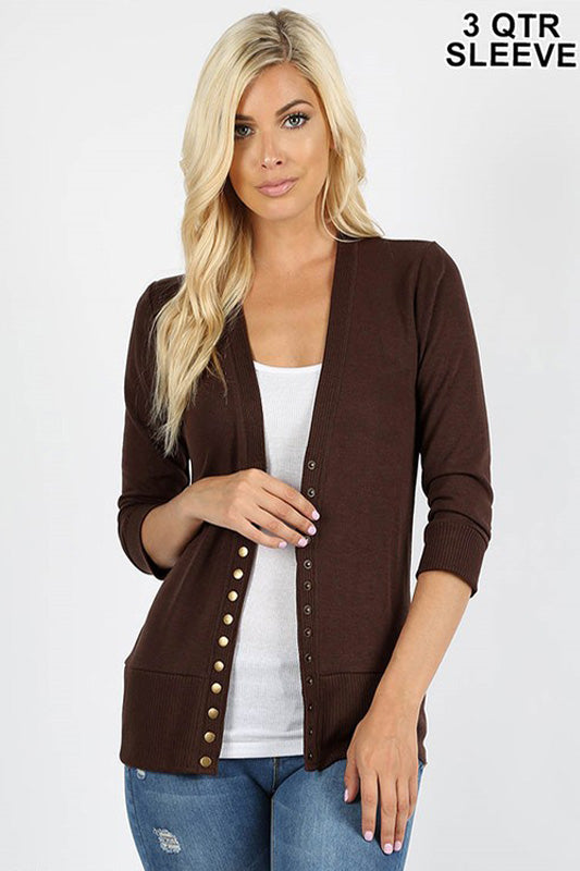 Snap Button Sweater Cardigan 3/4 Sleeve  S-XL - Restocked!