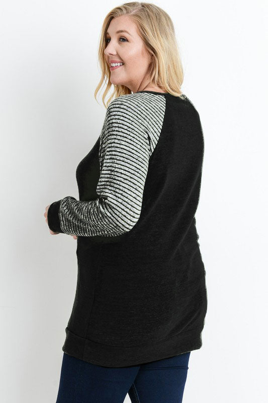 Stripe Raglan Sweater Top  1XL-3XL