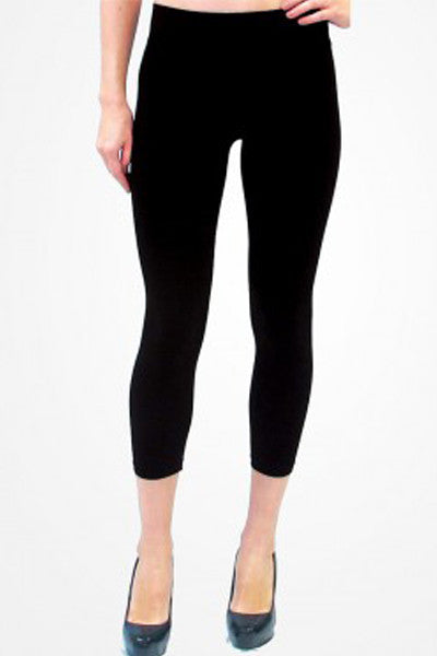 Cropped Black Leggings - Elietian