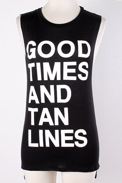 """Good Times And Tan Lines"" Tank (med grey left)"