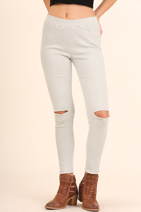 High Waist knee-Cut Jeggings (sm cream left)