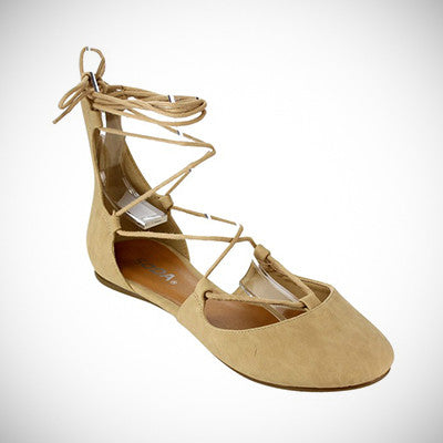 Lace Up Ballet Flat Sandal