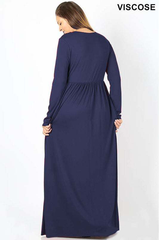 Long Sleeve Maxi Dress 1XL-3XL