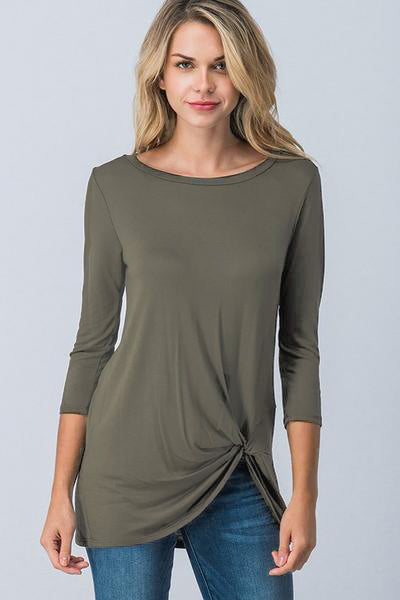 3/4 Sleeve Twist Top (sm olive left)