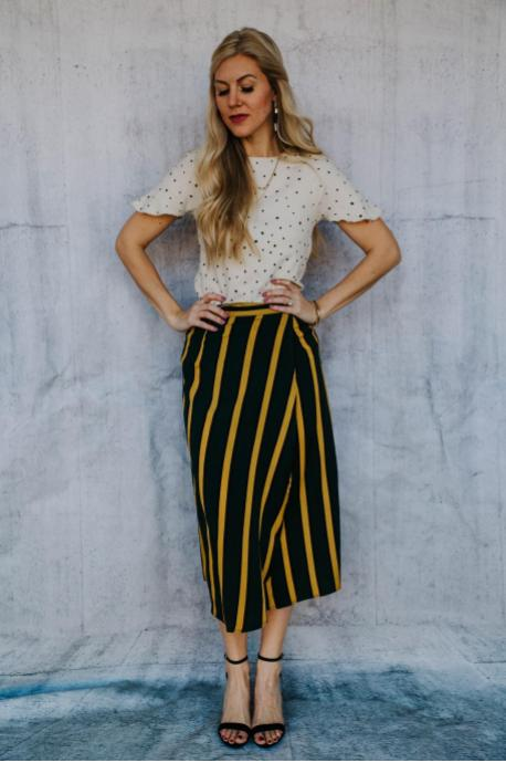 Vertical Stripe Wrap Skirt