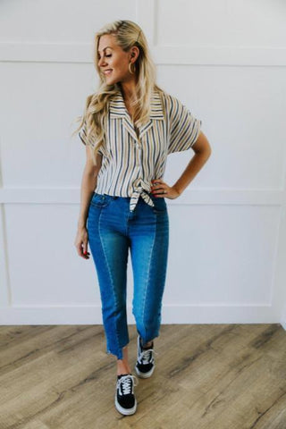 White Striped Tie Front Top