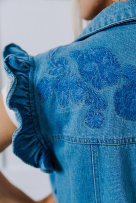 Floral Stitched Denim Vest