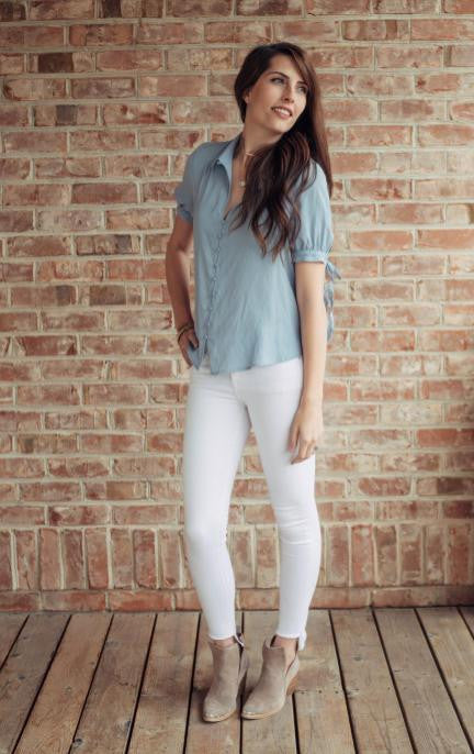 White Jean w/High-Low hem