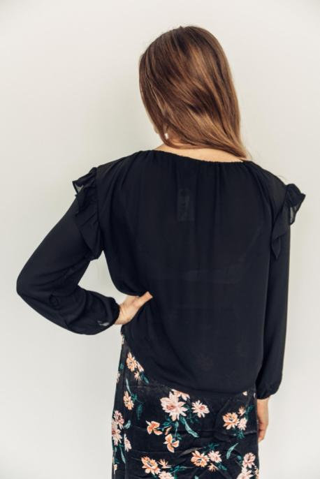 Black Drawstring Ruffled Blouse