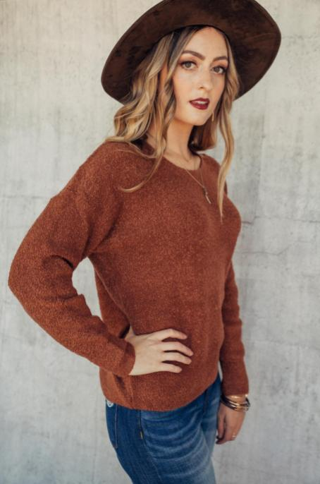 Rust Split Neck Sweater