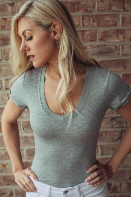 Heathered Gray V-Neck Bodysuit