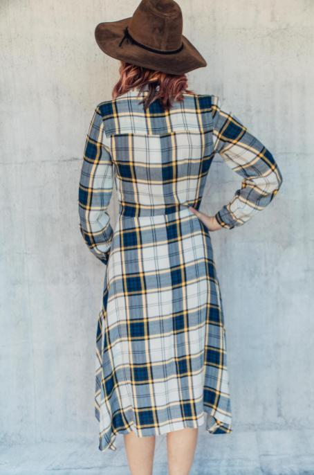 Mandarin Collar Plaid Dress
