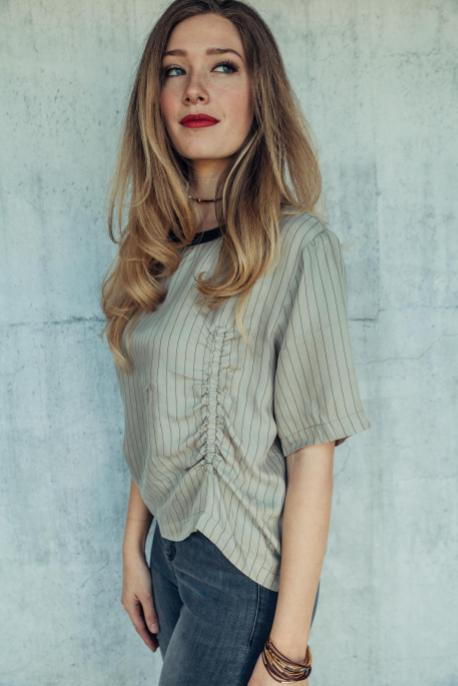 Pinstripe Ruched Blouse