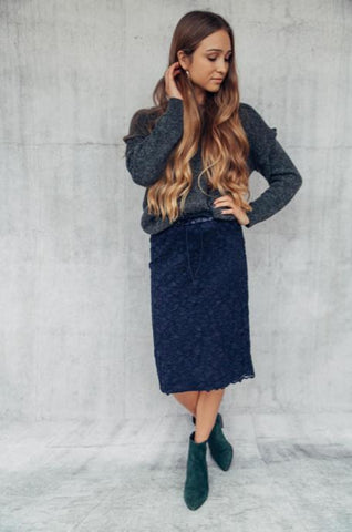 Suede Straight Skirt