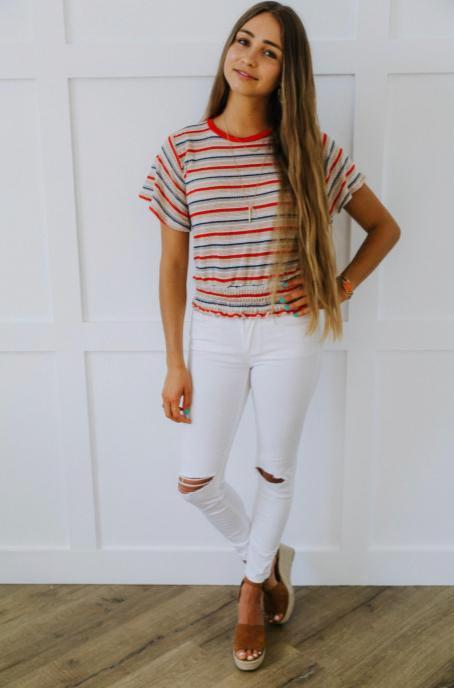White Knee Slit Jeans