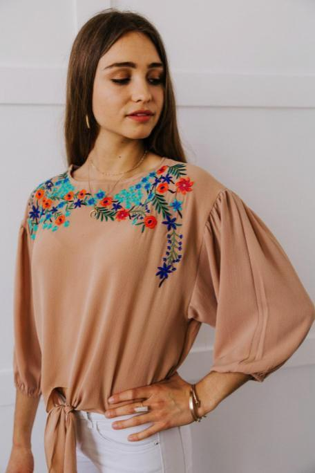 Tie Front Embroidered Top