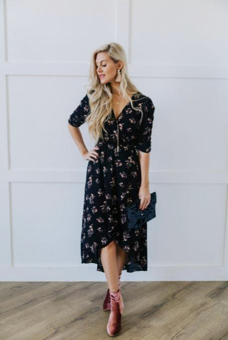 Rouched Sleeve Dress