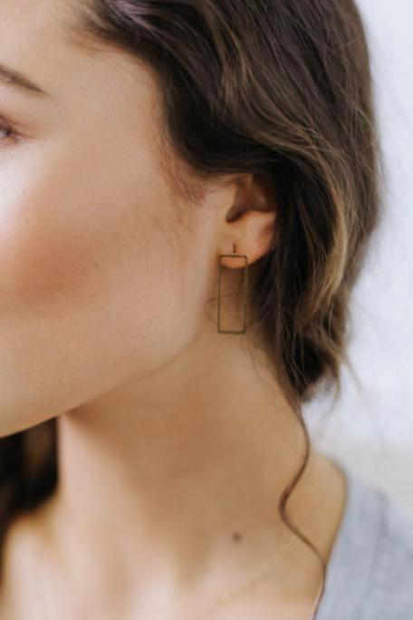 Gold Rectangle Earring