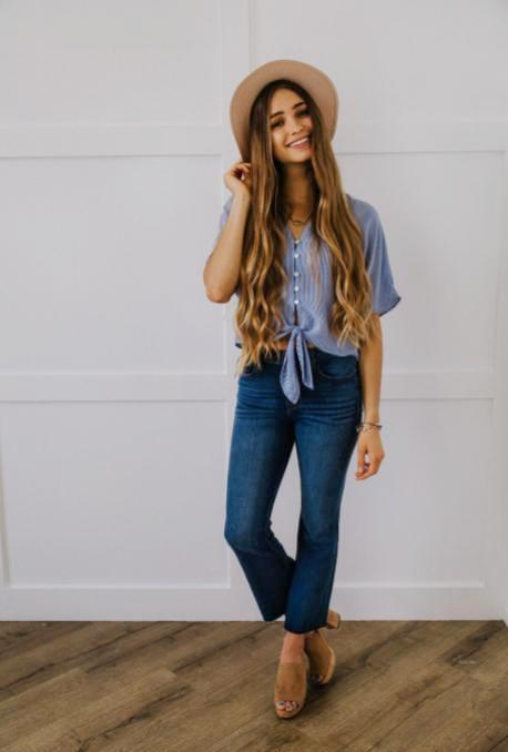 Blue Striped Tie Front Blouse