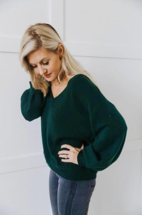Soft Green V-Neck Sweater