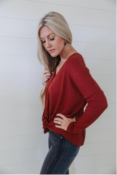 Knit Button Front Top