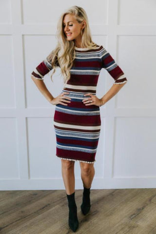 Striped Midi-Skirt