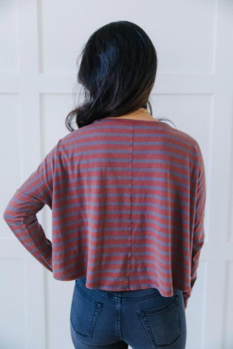 Washed Out Striped V-Neck Tee
