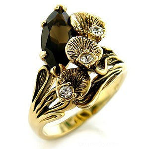 """Abigail"" Austrian crystal Gold Smokey Topaz Flower Ring"