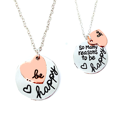 """Be Happy"" Inspirational Engrave Necklace"