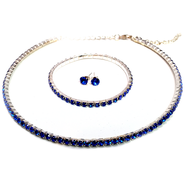 """Bebe"" Austrian Crystal elements single row jewelry set ~ Blue"