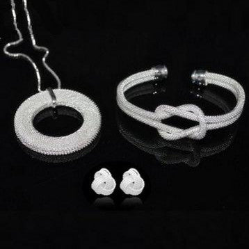 """Bellina"" Silver mesh Jewelry set"