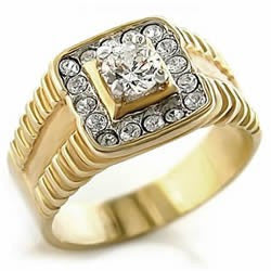 Bianco Men's Gold Zirconia Ring