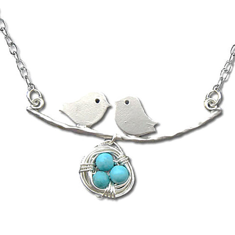 """Birdy"" Bird, Eggs and Nest Silver Necklace"