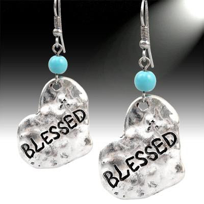 """Blessed"" Turqouise Silver Earrings"