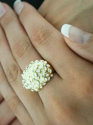 """Daisy"" Gold Zirconia White Daisy Ring"