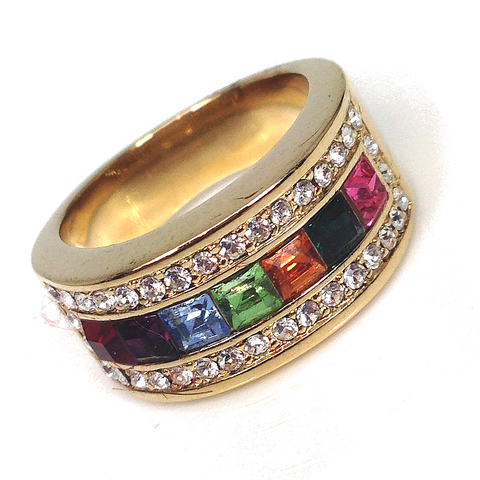 """Felanci"" Austrian crystal elements Top Grade Crystal Gold Plating Ring"