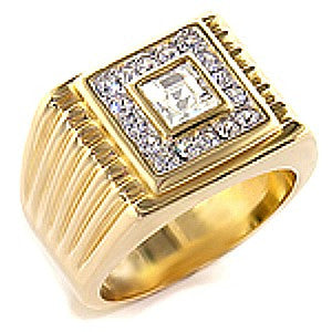 Franco Men's Austrian crystal Swarovski elements Gold Ring