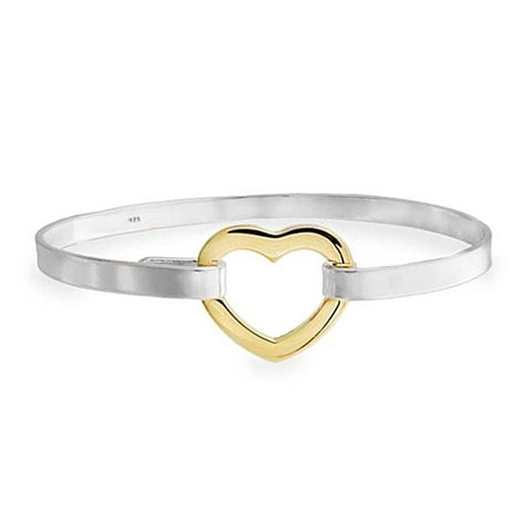 """Bella"" Heart Two Tone Bangle"