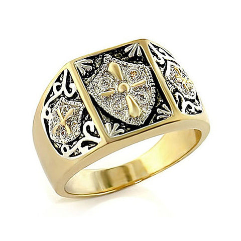 Jaguardi Men's black silver and gold Jet Cross Ring