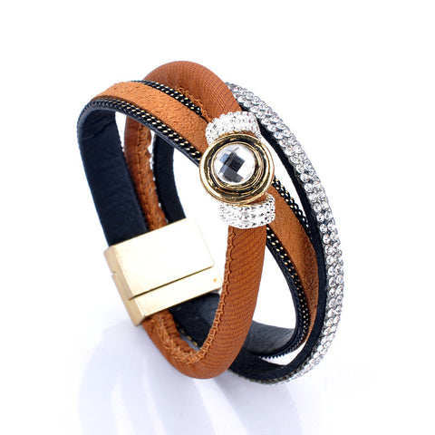 """Bilovia"" Layer Leather Wrap Bangle ~ Brown"