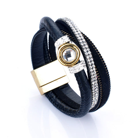 """Bilovia"" Layer Leather Wrap Bangle ~ Black"