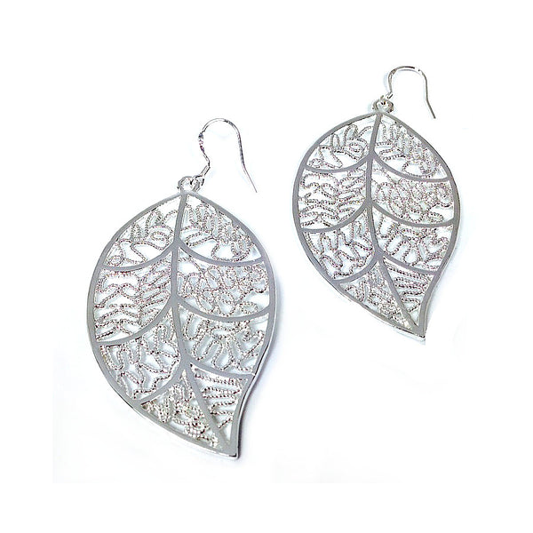 """Leafy""  Silver Leaf Earrings"