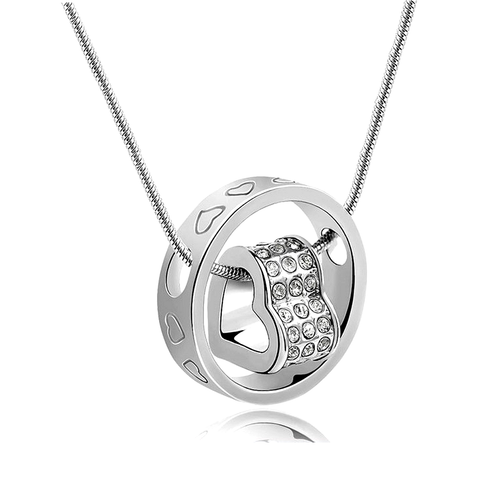 """Elle"" 18-Karat White Gold Plated Austrian crystal elements Heart Necklace"