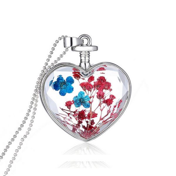 """Cantik"" 18-Karat White Gold Real Dried Flower Heart Necklace ~ Red Blue"