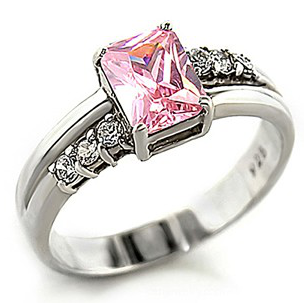 """Molusca"" Pink Zirconia Silver Ring"