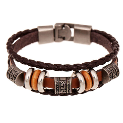 """Andrian"" Layer Leather Wrap Bangle ~ Brown"