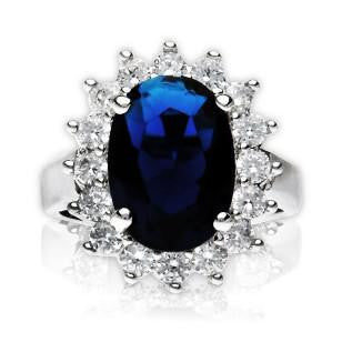 """Princess Diana"" Inspired Blue Sapphire Zirconia Ring"