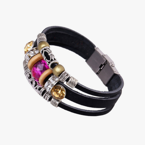 """Vivian"" Layer Leather Wrap with Ruby Crystal Bangle~ Black"